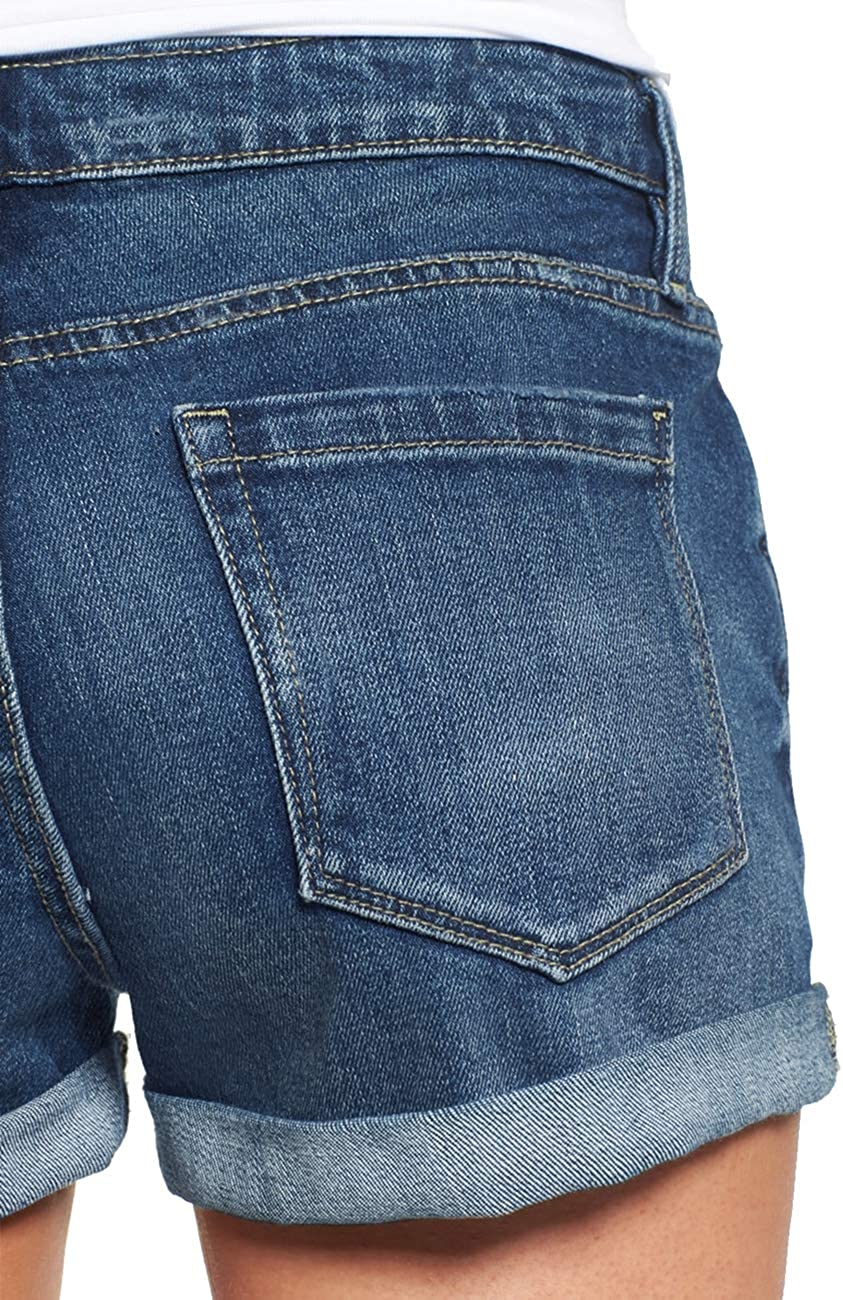LookbookStore Womens Mid Rise Rolled Hem Distressed Jeans Ripped Denim Shorts