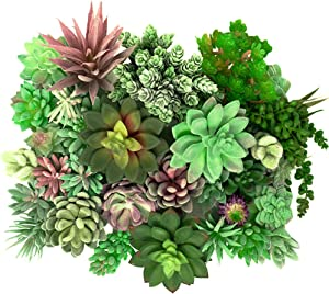 Thatswut - 35 Pack Bulk Large Assorted Realistic Artificial Faux Succulents Aloe Plants Realistic Fake Succulent Plants, Largest Set of Succulents