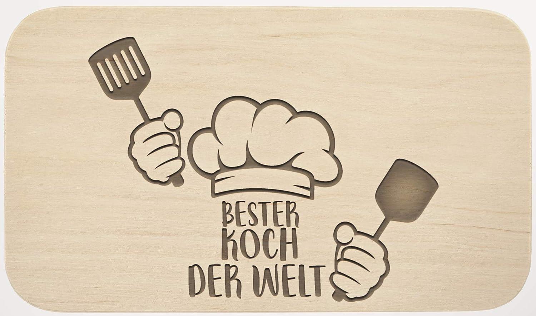 Liebtastisch Frühstücksbrett mit Gravur - ''Bester Koch der Welt'' - Holz - hochwertige Qualität - Geschenk - Schneidebrett - Küchenbrett - Frühstücksbrettchen - Brotzeitbrett (38cm x 24cm x 1,6cm)