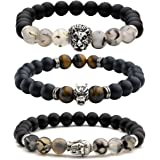 Top Plaza Jewelry - Mens Womens Cool Black Matte Agate Gems 8MM Beads Stretch Bracelet with Dragon Vein Agate Tiger Eye Beads