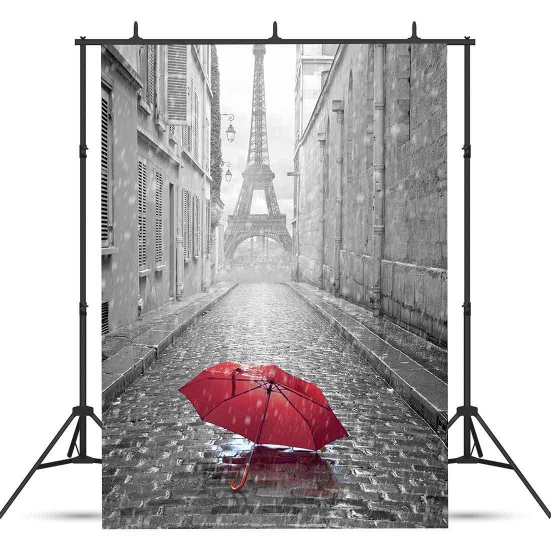 VVM 5x7フィート 街の景色 背景幕 雨 アリーの背景 写真用 エッフェル塔 背景幕 YouTube背景 VV1484   B07D1K1GSH