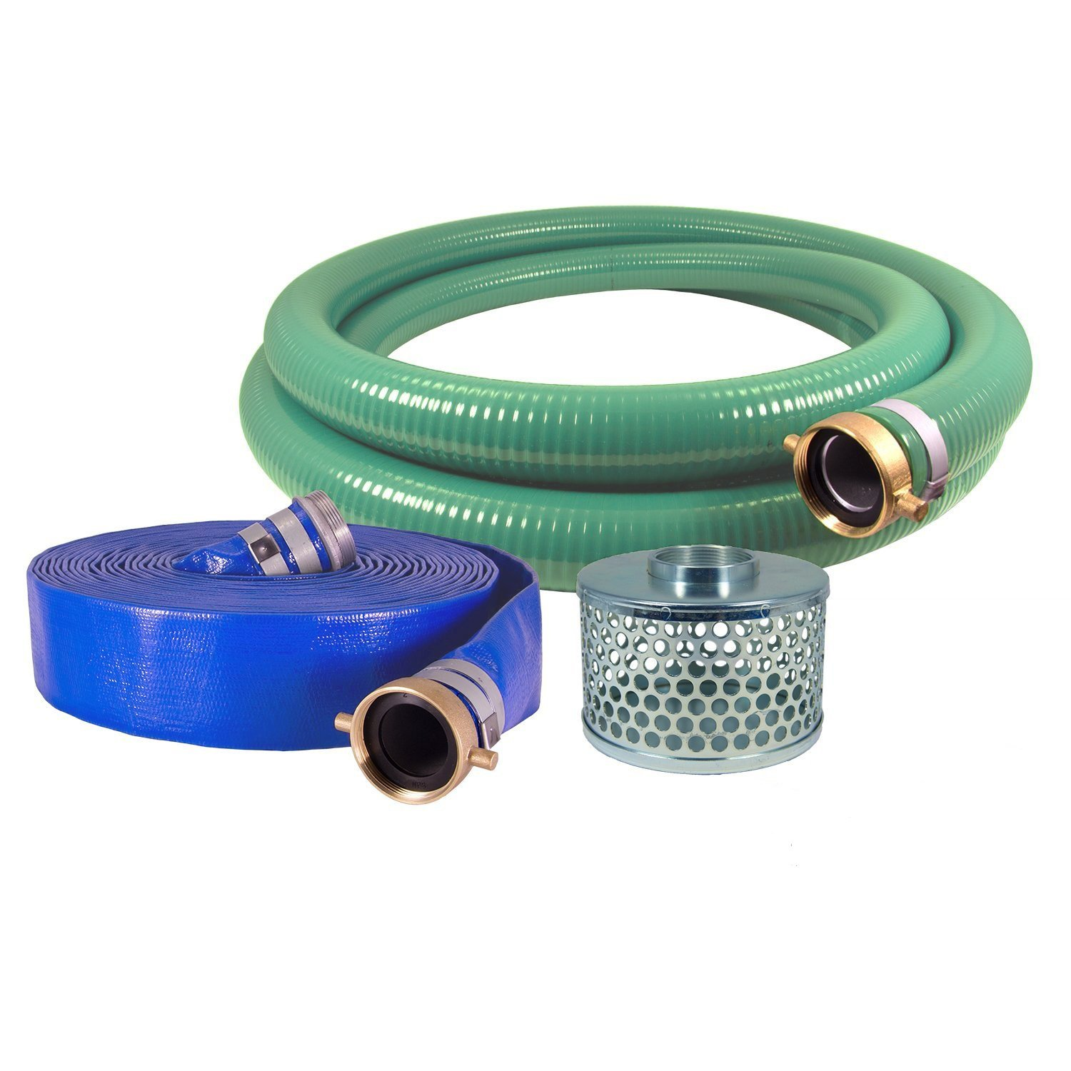 JGB Enterprises Eagle Hose PVC/Aluminum Water/Trash Pump Hose Kit, 3'' Green Suction Hose Coupled M x F WS, 3'' Blue Discharge Hose Coupled M x F WS, 29 Vacuum Rating, 70 PSI Maximum Temperature, 25' Length, 3 ID