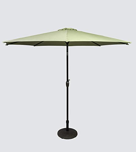 Pebble Lane Living 9 Powder Coated Market Umbrella with Tilting and Crank – Honey Dew Fabric Color