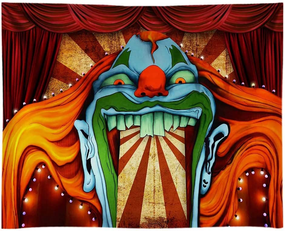Funnytree 10x8ft Durable Fabric Horror Circus Theme Halloween Photography Backdrop No Wrinkles Giant Evil Clown Hallomas Birthday Party Background Scary Grove Vampire Decor Banner Photobooth Studio