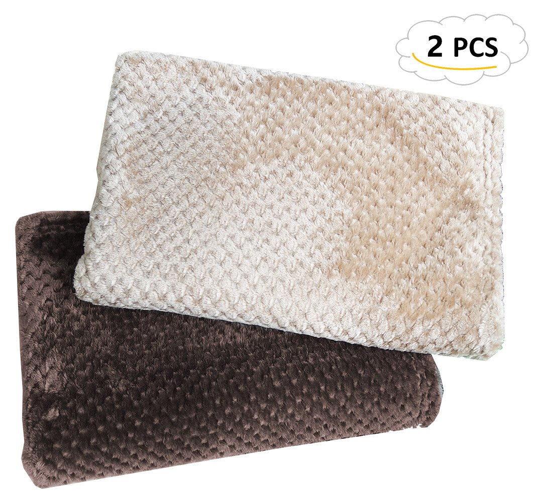 Chol & Vivi Blanket For Dogs Cats, Dog Blankets 2PCS Premium Soft Flannel Blankets For Dog Bed Dog Cover Couch, Lightweight Dog Blankets And Throws For Small Meidum Dog Cat, Brwon And Khaki