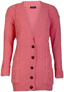 564249379e FASHION CHARMING-New Womens Long Sleeve Button Ladies Chunky Aran Cable  Knitted Grandad Cardigan 8