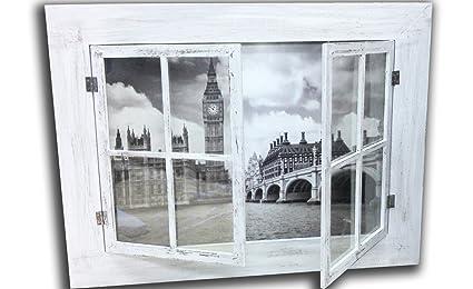 Cuadro Trampantojo Vintage Ventana Londres Blanco y Negro, 52 x 39 cm ref. T0001