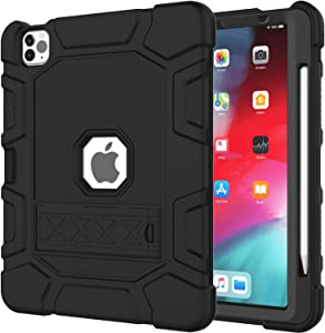 Azzsy iPad Pro 11 Case 2020 & 2018 with Pencil Holder [Support Apple Pencil Charging], Slim Heavy Duty Shockproof Rugged High Impact Full Body Protective Case,Black