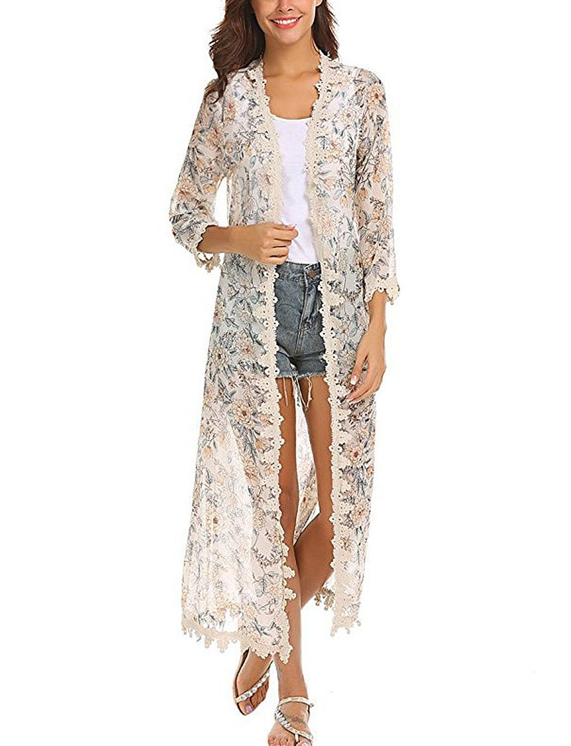 BB&KK Women's Floral Kimono Tops Short Sleeves Sheer Chiffon Swimsuit Cover Ups Loose Long Cardigan Capes White L