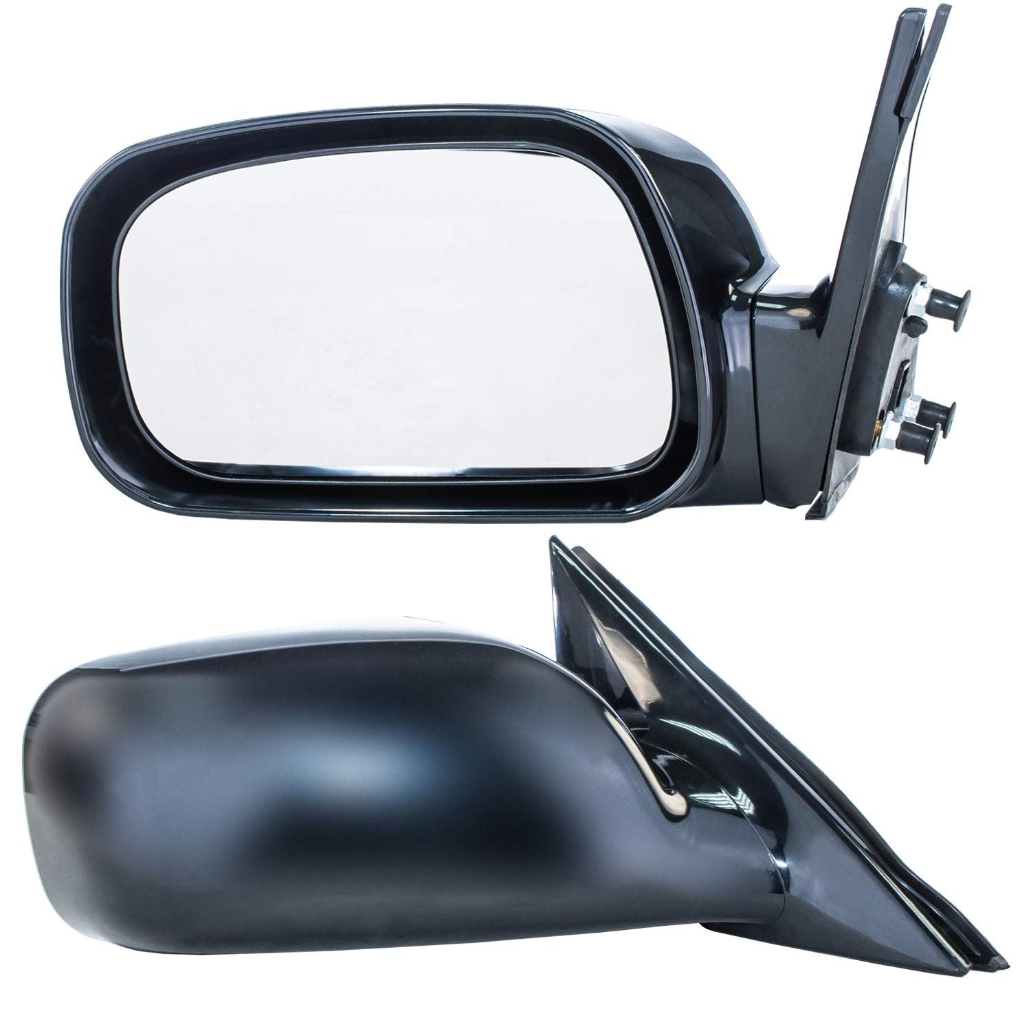 Dependable Direct Driver and Passenger Side Unpainted Non-Heated Non-Folding Door Mirrors for USA Built Toyota Camry (2002 2003 2004 2005 2006)