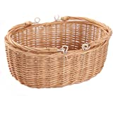 Kingwillow, Wicker Picnic Basket Hamper with double folding handles, Oval storage basket with handles. (Large, Natural)