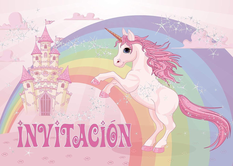 """Edition Colibri 10 Invitaciones en español """"Unicornio"""": Juego de 10 Invitaciones para el cumpleaños Infantil / Fiesta (10952 ES)"""