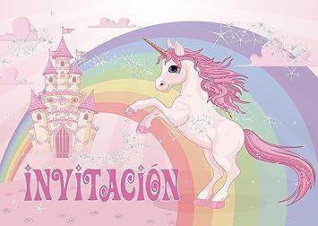 Edition Colibri 10 Invitaciones En Español Unicornio Juego De 10 Invitaciones Para El Cumpleaños Infantil Fiesta 10952 Es