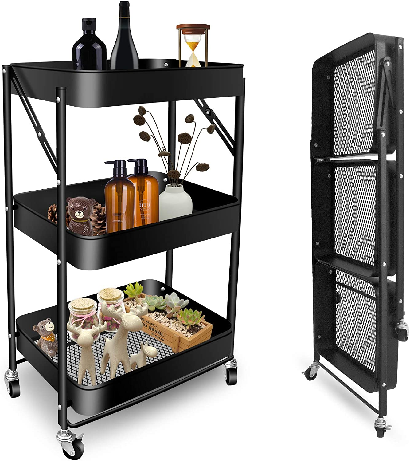 Psukhai 3 Tier Foldable Rolling Cart with Wheels Folding Utility Storage Cart, Metal Roller Kitchen Trolley Cart for Living Room,Bedroom,Classroom, Black