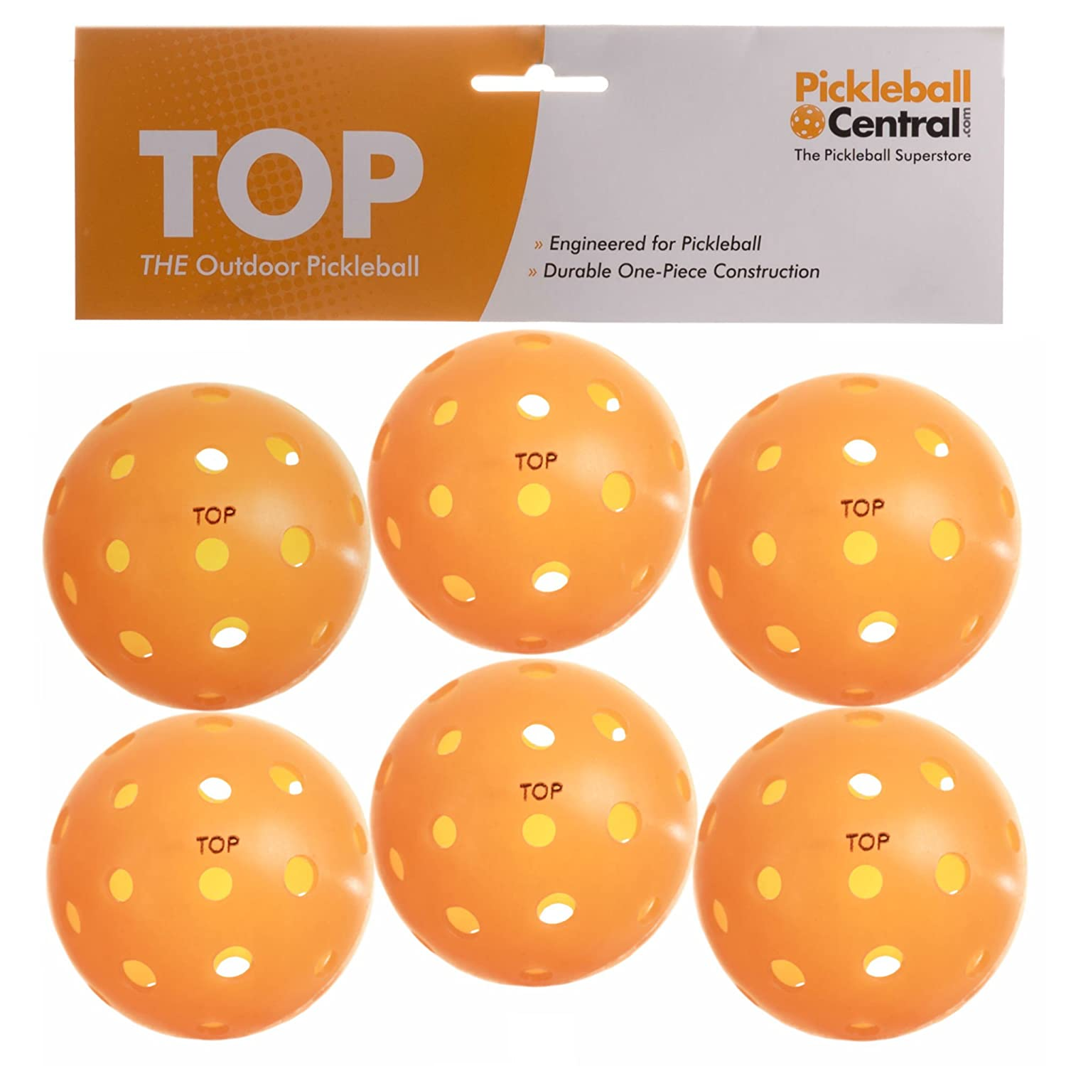 TOP ball (The Outdoor Pickleball) - 6 count - Orange - USAPA Approved for Tournament Play PickleballCentral