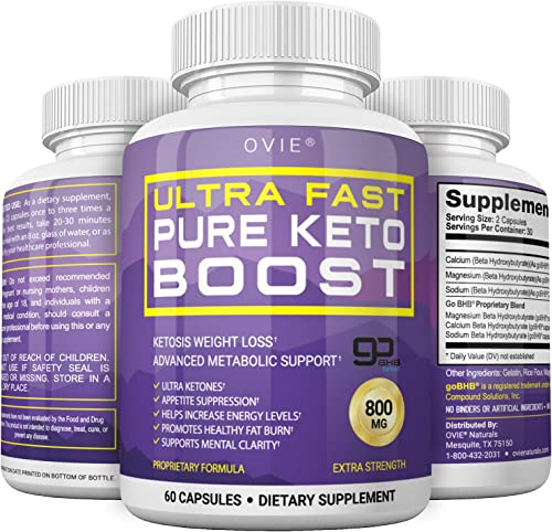 Ultra Fast Keto Boost - Advanced Clinically-researched Patented GoBHB Pure BHB Salts beta hydroxybutyrate - 800mg Keto Diet Pills - Best Ketosis Ketogenic Supplement 60 Capsules 30 Day Supply