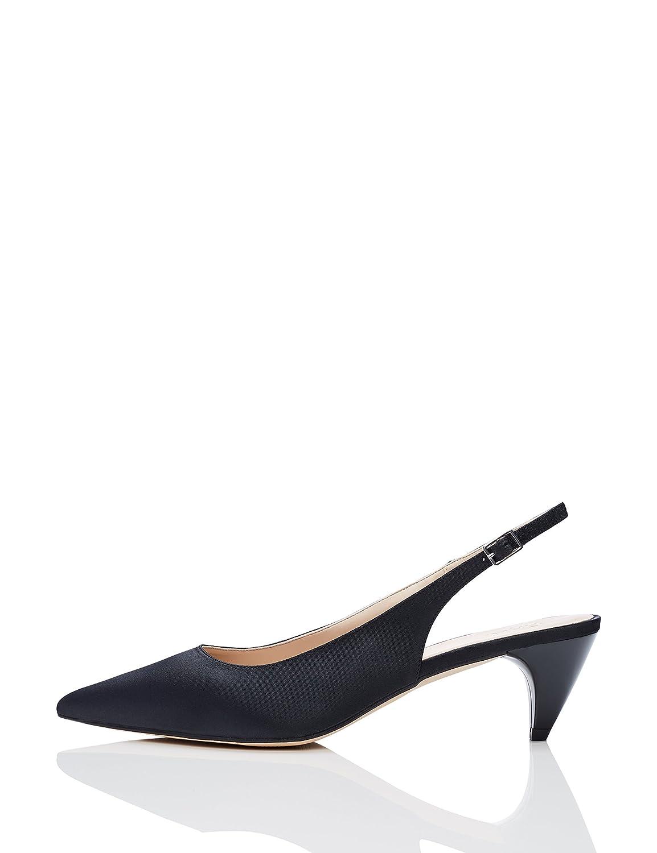 Find Zapatos Satinado de Talón Abierto Mujer 39 EU|Negro (Black 001)