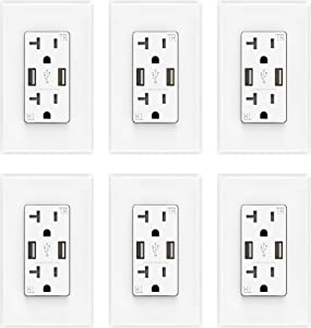 ELEGRP USB Charger Wall Outlet, Dual High Speed 4.0 Amp USB Ports with Smart Chip, 20 Amp Duplex Tamper Resistant Receptacle Plug, Wall Plate Included, UL Listed (6 Pack, Glossy White)