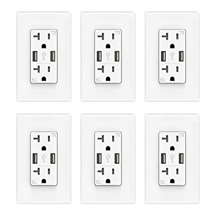 Amazon.com: ELEGRP Dual USB Cargador en Salida de Pared 4.0 ...