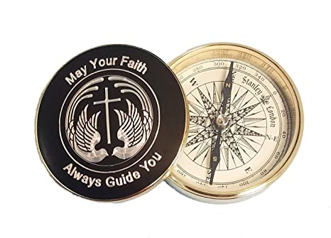 Stanley London Engraved Gold Plated Religious Brass Desk Compass For Baptisms Confirmations Missionary