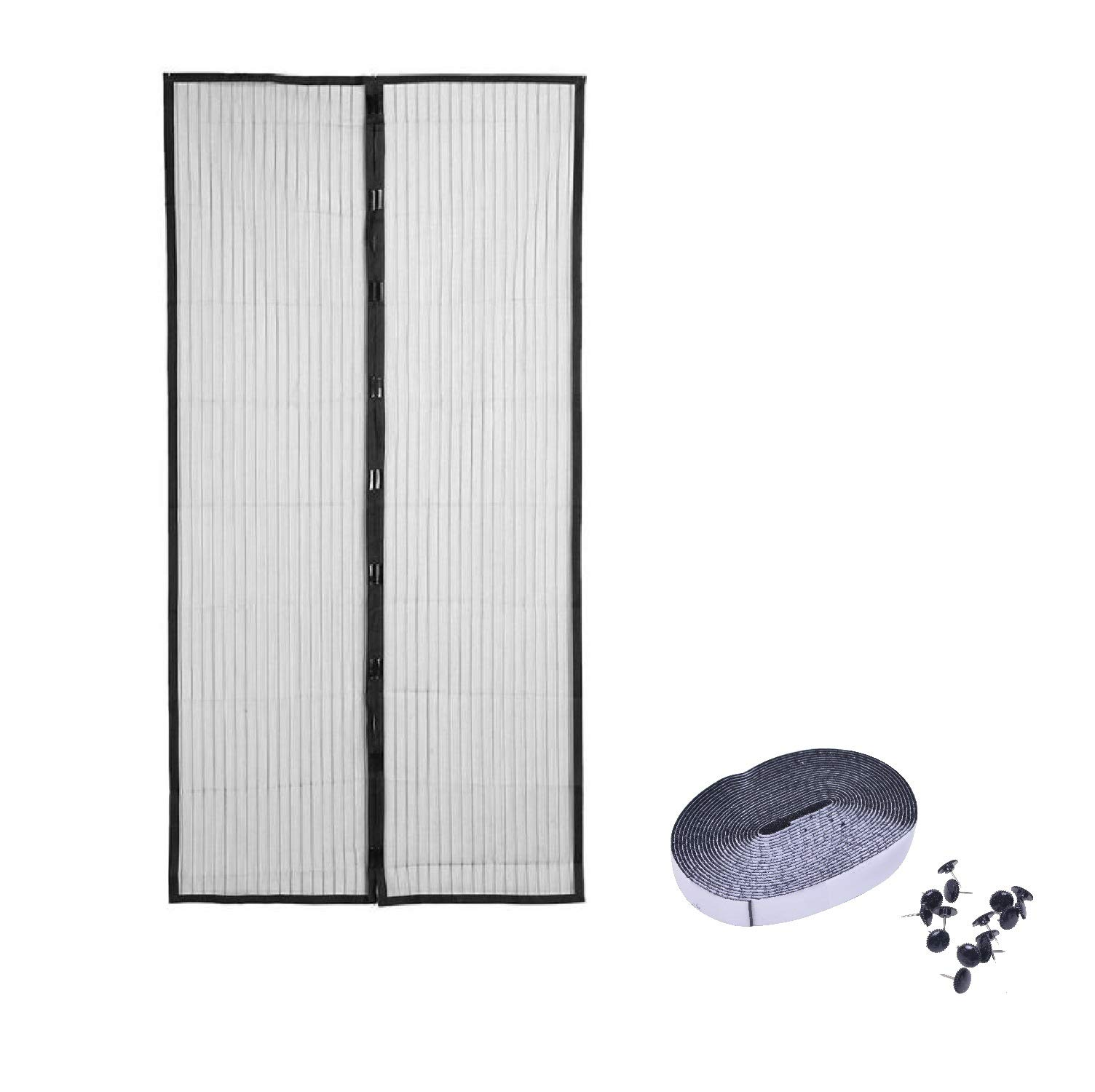 Karp Magnetic Screen Door Full Frame Mosquito Net Curtain With Hook And Loop Fastener Tape (100 cm W X 210 cm H, Weight - 655 Grams) - Black Color product image
