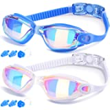 Swim Goggles, Pack of 2, Swimming Goggles for Adult Men Women Youth Kids Child, Triathlon Equipment, with Mirrored…