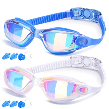 0ed1dd0baf Gafas de Natación de COOLOO, Paquete de 2, Gafas de Natación para Adultos  Hombres