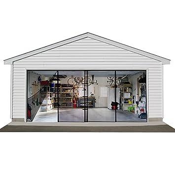 Double Garage Door Screen, Car Door Net Mesh with Magnet & Velcro ...