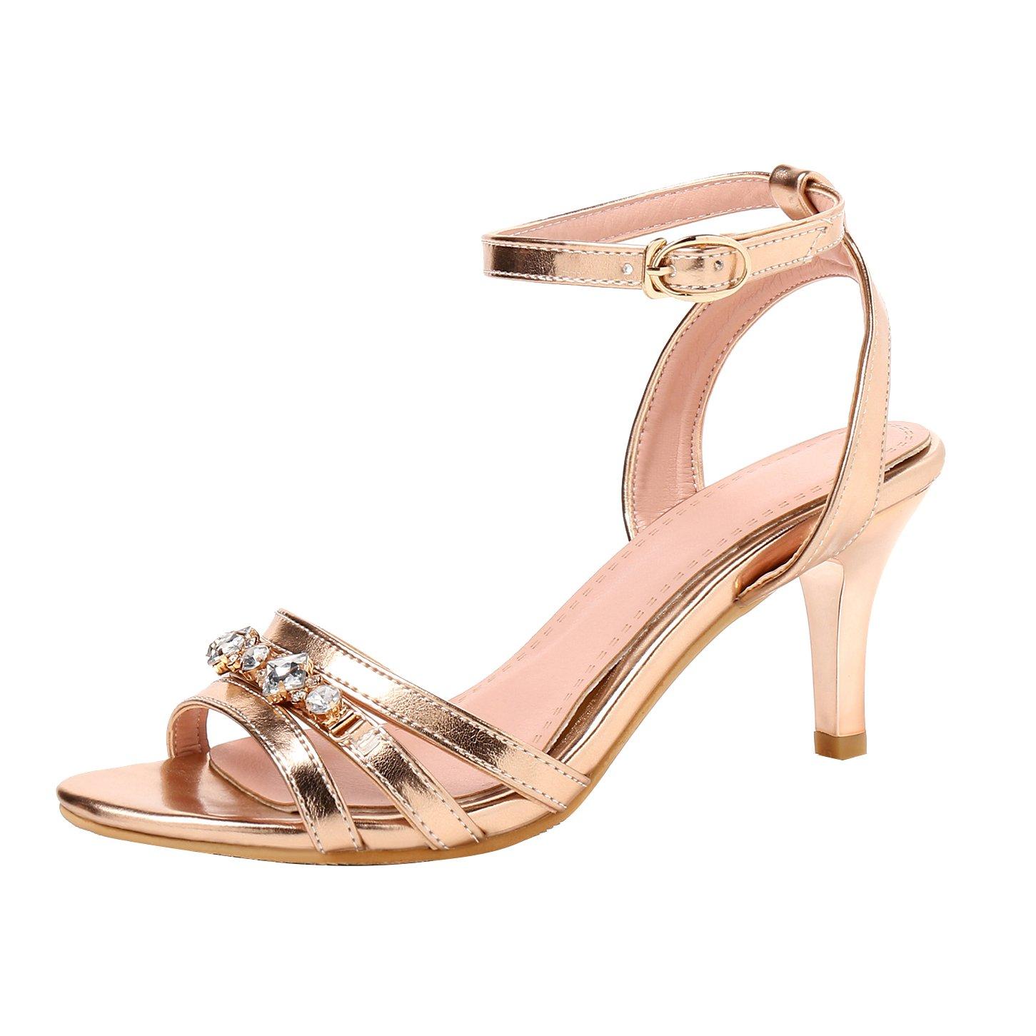 YE Damen Kitten Heels Sandalen mit Riemchen und Glitzer Stiletto High Heels Hochzeit Braut Schuhe  38 EU|Gold