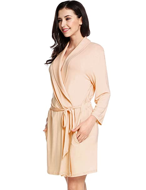 f3aae4d377 Avidlove Womens Three Quarter Sleeve Bathrobe Cotton Comfort Robe Sleepwear