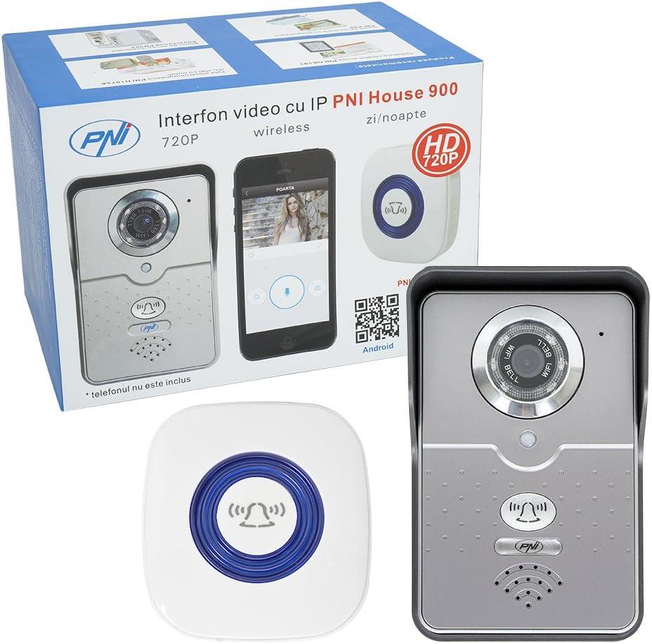 PNI 5418 Vídeo de interfono in Videoportero con la Tarjeta P2P inalámbrica IP House 900 y visualización en un teléfono Inteligente con Android o iOS, 12 V