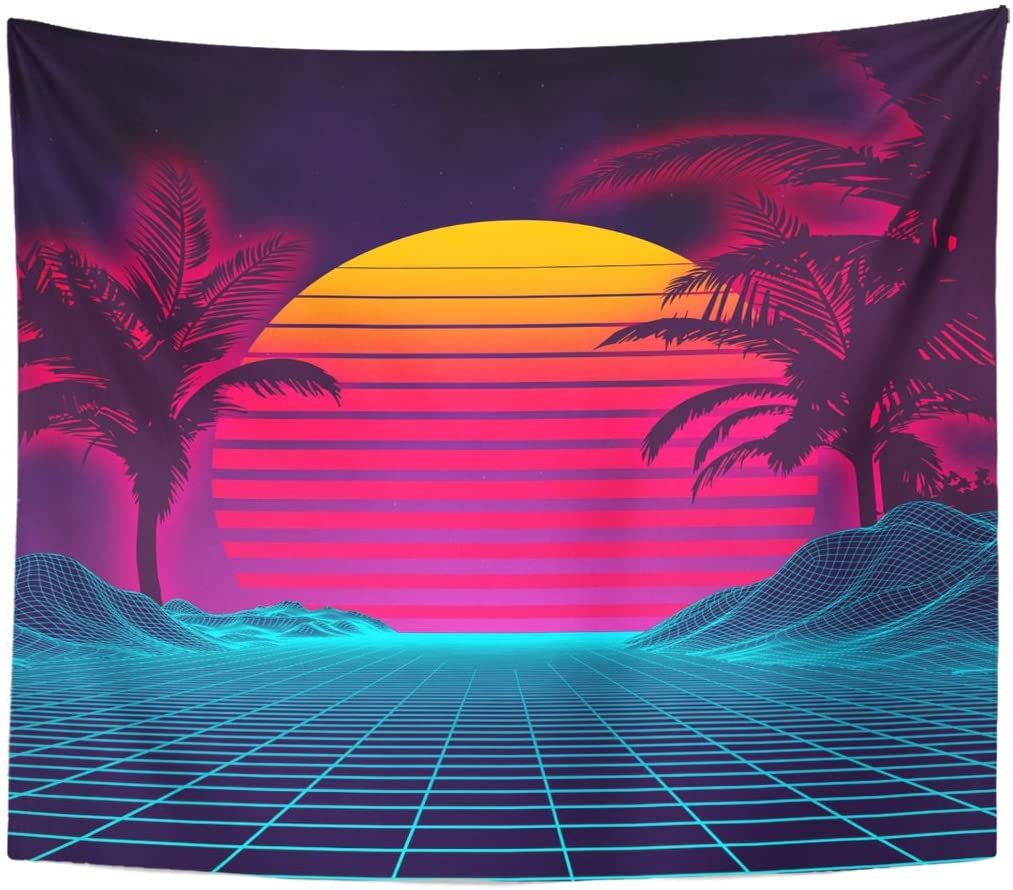 TOMPOP Tapestry Retro Futuristic Landscape 1980S Digital Cyber 80S Party Sci Home Decor Wall Hanging for Living Room Bedroom Dorm 50x60 Inches