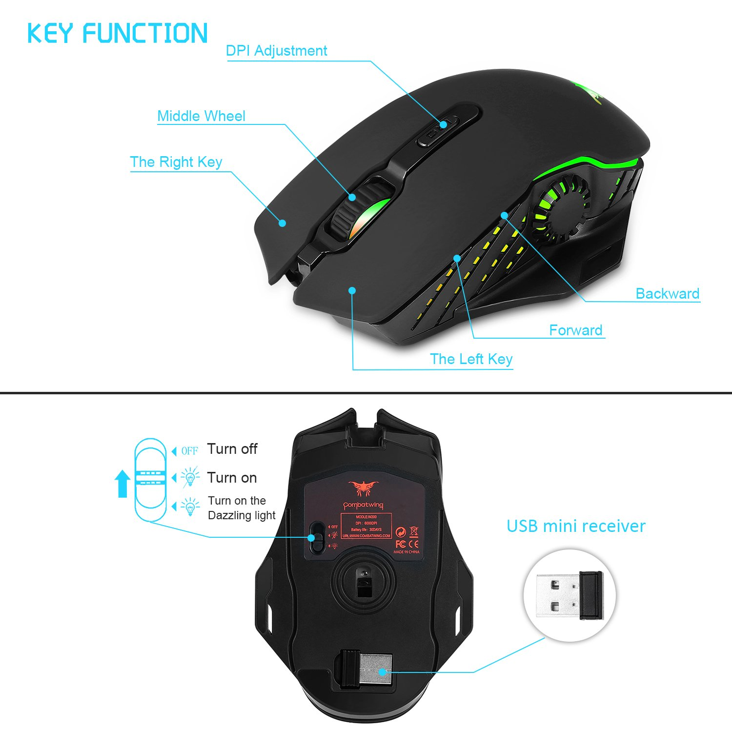 Wireless Wired Gaming Mouse,Dual-mode 2.4GHz Rechargeable Optical Mice with USB Receiver,6000 DPI 6 Adjustable DPI Levels,6 Color Breathing Lights for Laptop PC Mac Pro and Computer(Black)