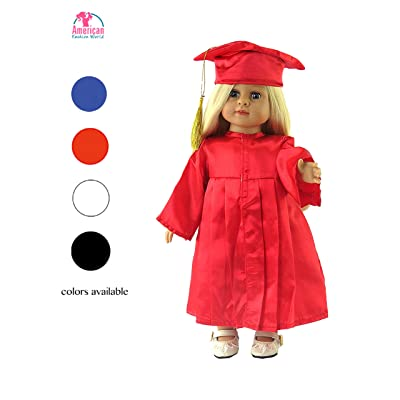 "Red Graduation Cap, Gown, and Diploma -Fits 18"" American Girl Dolls, Madame Alexander, Our Generation, etc. 