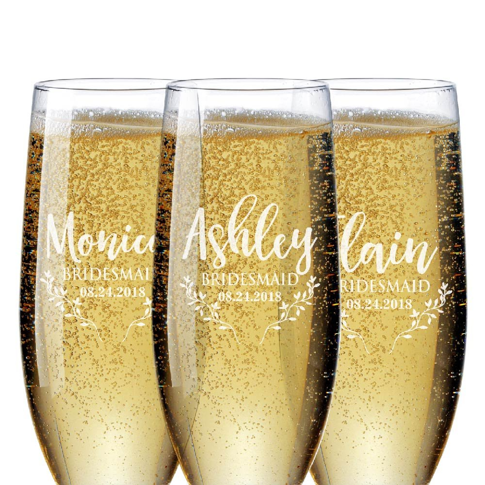 Bridal Party Gifts Bridesmaid Champagne Flutes Set of 1 to Set of 6 | Personalized Champagne Glasses for Bridesmaids Gift - Bridesmaid Champagne Glasses #D20