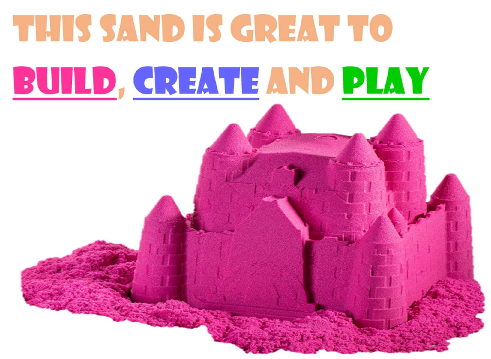 walla Play Sand (5 lbs.) | Pink Play Sand for Kids | Great Kinetic Sensory Toy for Creating Fun, Moldable Sand Art & Work On Fine Motor Skills | Bring The Beach to Your Home with Mess-Free Magic Sand by walla (Image #3)