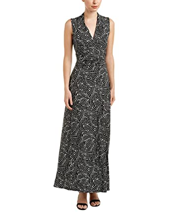 72c07c02221 Vince Camuto Womens Modern Mosaic Halter Maxi Dress Rich Black XL One Size