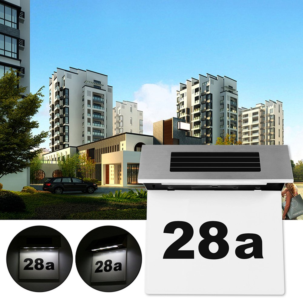 Solar Powered 4 LED House Address Number Lamp, Vingtank Stainless Steel Doorplate Light Outdoor Wall Plaque Light Lamp