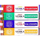 Orkay Vedika Incense 4-in-1 pack (4 pack of 15 sticks each Natural Agarbatti) Fragrance: Nag Champa, Chandan, Meditation and Tradition