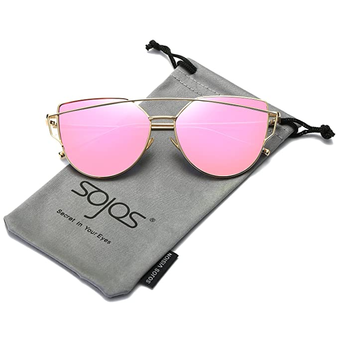 a59628fada85b SojoS Cat Eye Mirrored Flat Lenses Street Fashion Metal Frame Women  Sunglasses SJ1001 With Gold Frame Rose Mirrored Lens  Amazon.ca  Clothing    Accessories