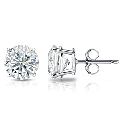 2ee974f65 Image Unavailable. Image not available for. Color: 2.0 ct Round Brilliant  Cut Simulated Diamond CZ Solitaire Stud Earrings ...