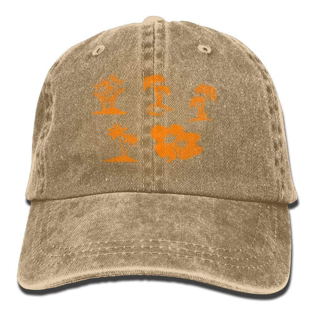 2018 Adult Fashion Cotton Denim Baseball Cap Palm Trees Silhouette Classic Dad Hat Adjustable Plain Cap