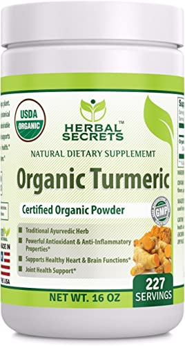 Herbal Secrets USDA Certified Organic Turmeric Powder 16 oz Non-GMO Gluten-Free – Antioxidant Anti-Inflammatory Properties* Supports Healthy Heart and Brain Functions*