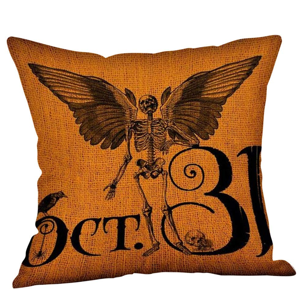 DZT1968 Halloween Pillow Cases Linen Sofa Cushion Cover Home Decor Bat Pumpkin Lantern Skull Design Room Car Best Festival Decorations (B)