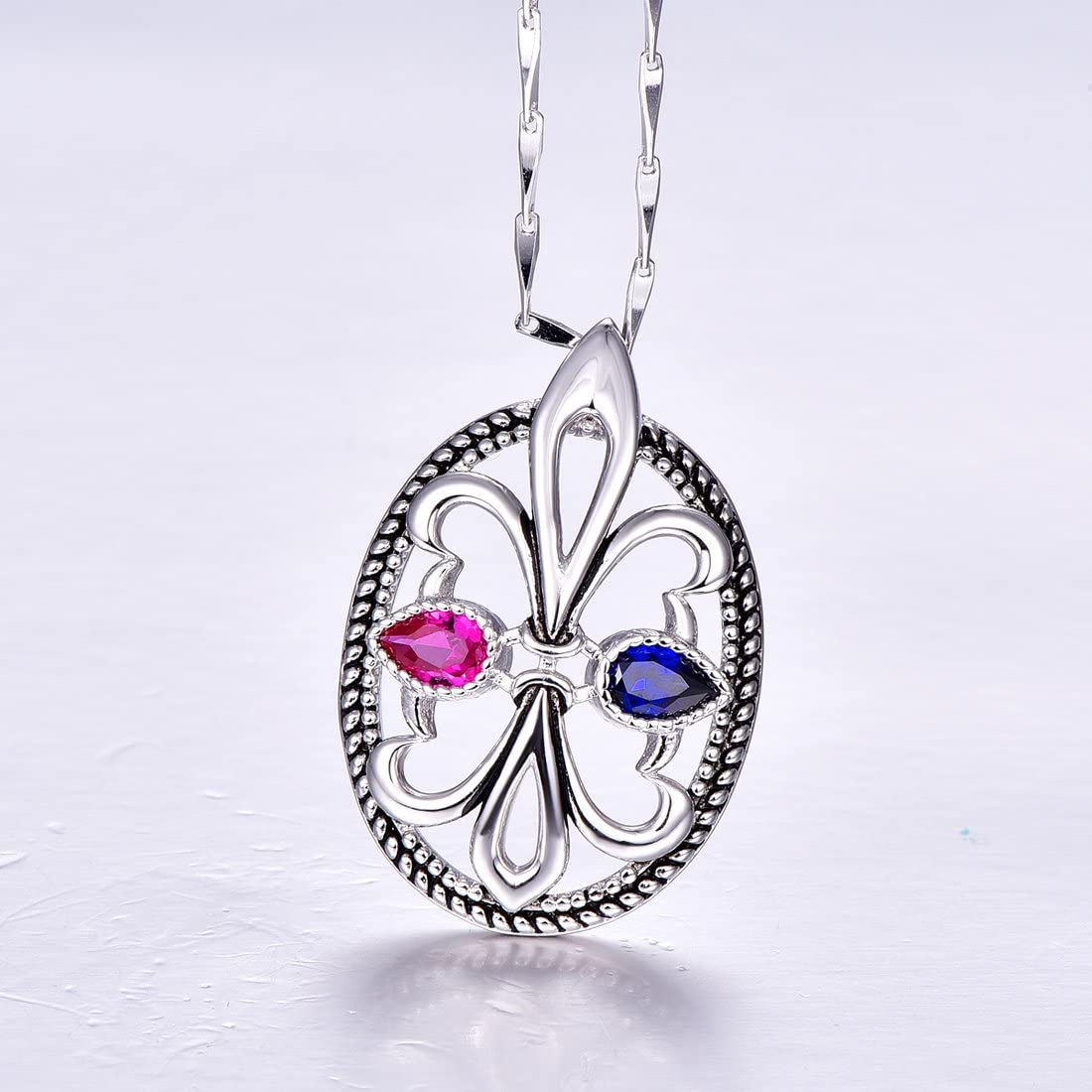 Auzeuner Women Vintage Bohemian Anchor Charm 925 Sterling Silver Pendant Necklace 18 inch Chain