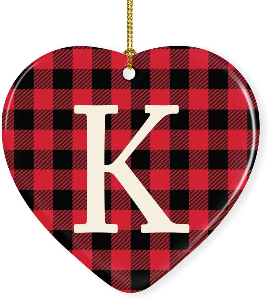 Andaz Press Heart Ceramic Porcelain Monogram Christmas Tree Ornament Keepsake Collectible Gift, Initial Letter K, Red Buffalo Plaid, 1-Pack, Wedding Bridesmaid's Gifts, Family, Ribbon and Gift Box