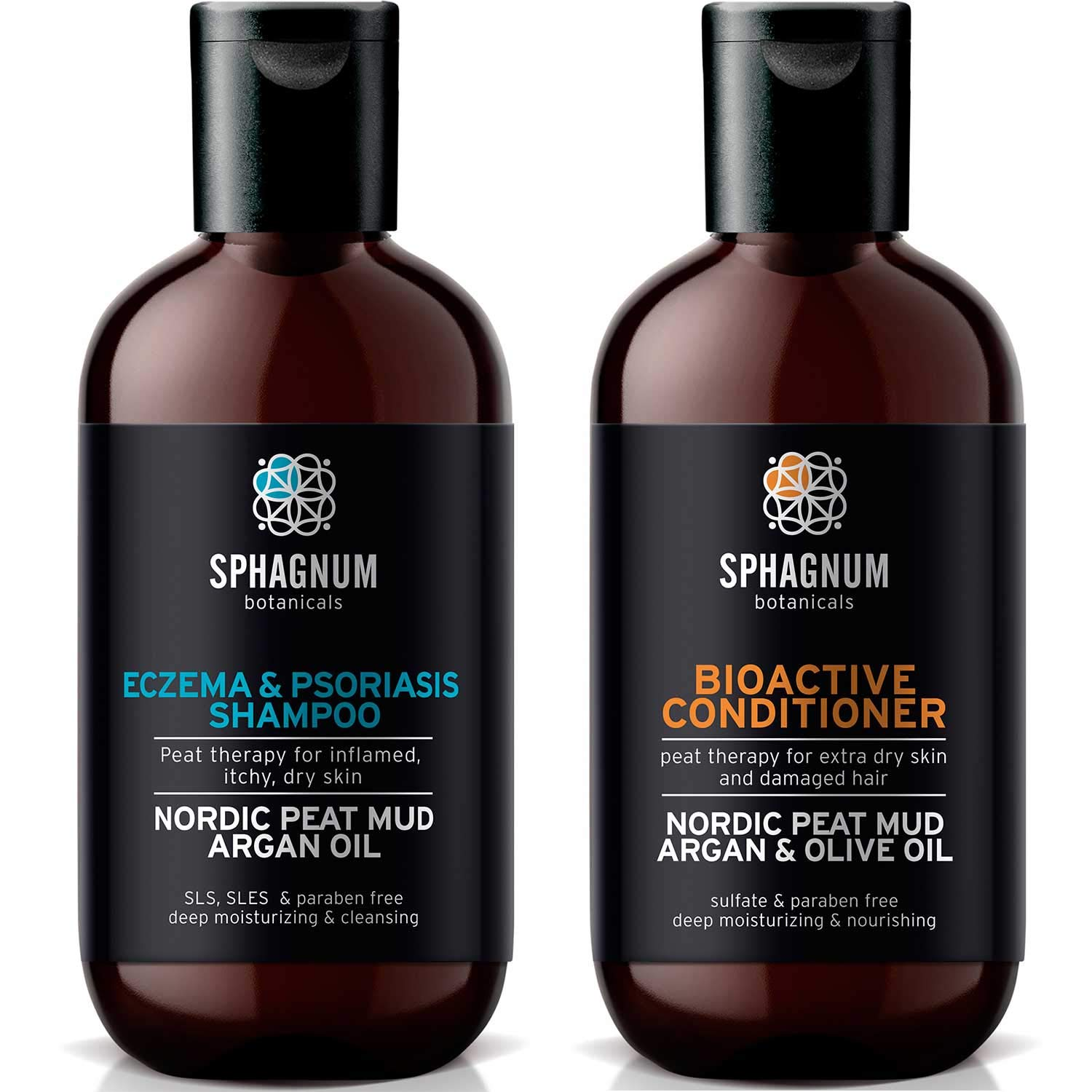 Psoriasis Shampoo and Conditioner Set - Complete Peat Mud Therapy for Itchy Scalp. Natural Healing Peat, Argan and Olive Oil Treatment 100% Free from Cancerous Coal Tar. For Both Men and Women. by Sphagnum Botanicals