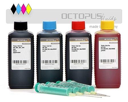 4 x 100 ml de tinta para cartuchos de impresora HP 301, recarga ...