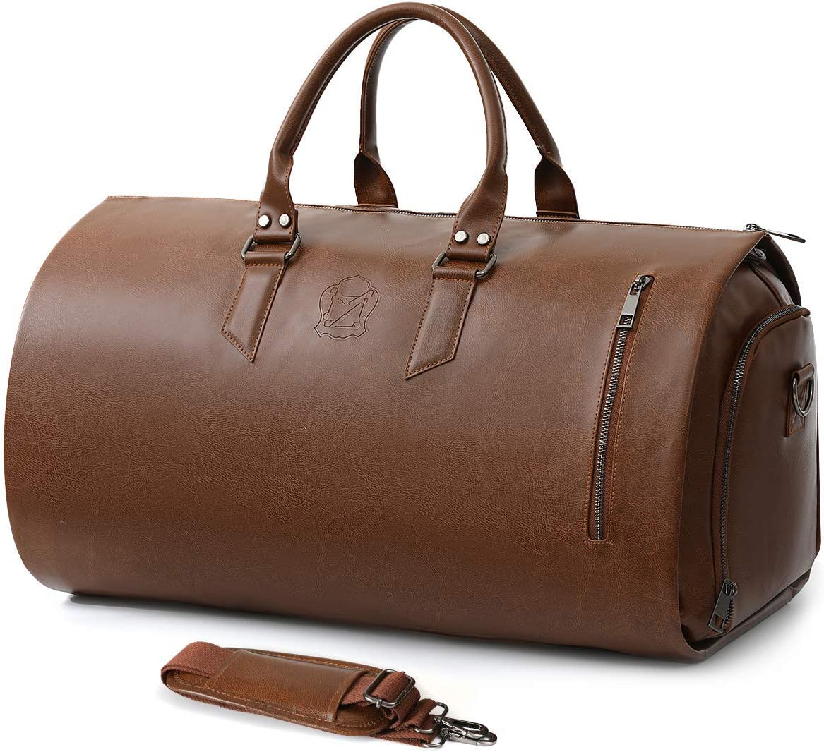 Convertible Leather Garment Bag with Shoes Compartment, Large Carry on Duffel Bag for Men Women - Waterproof Travel Weekender Suit Bag Brown