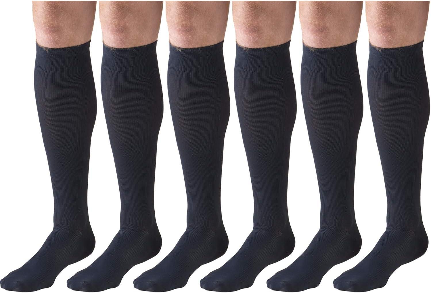 6 Pairs Mens Dress Socks Knee High Over Calf Length Black Medium Compression Socks 15-20 mmHg